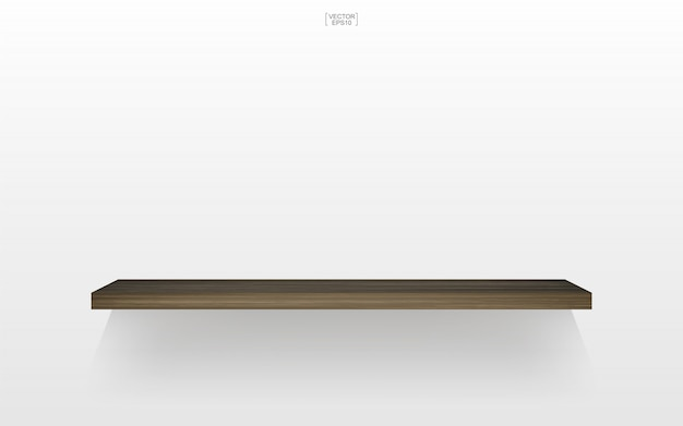 Étagère en bois vide sur fond blanc avec une ombre douce.