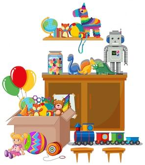 Étagère et boîte pleine de jouets sur blanc
