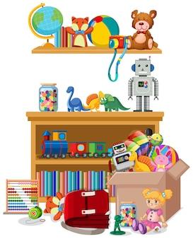Étagère et boîte pleine de jouets sur fond blanc