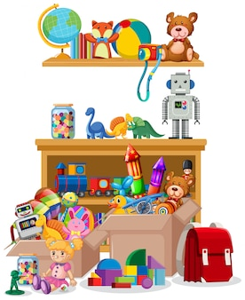 Étagère et boîtes remplies de jouets