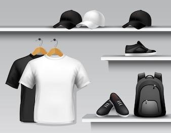 Étagère de magasin de vêtements de sport