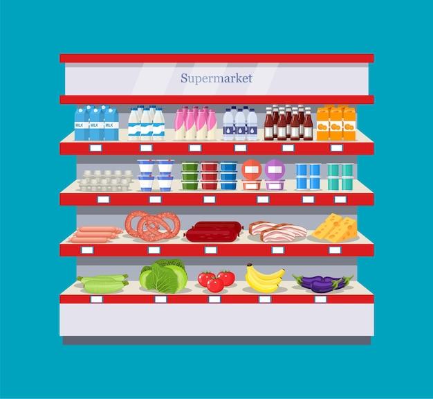 Étagère intérieure de supermarché