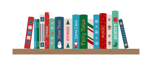 Étagère avec des livres de noël étagère avec des livres pour enfants lecture d'hiver de noël fairy tails