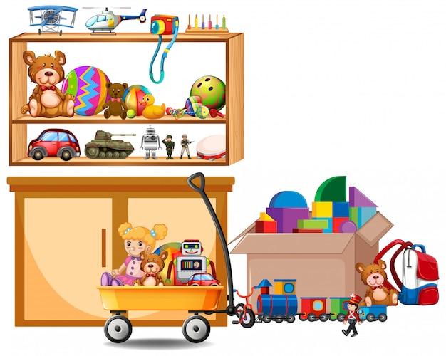 Étagère pleine de livres et de jouets sur blanc