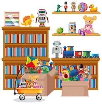 Étagère pleine de livres et de jouets