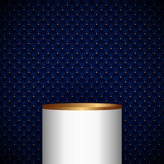 Étagère de produit de cylindre de piédestal blanc et or réaliste 3d sur la conception de motifs de carrés géométriques bleus avec fond et texture de luxe de points dorés. illustration vectorielle