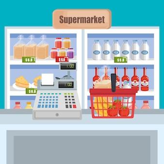 Étagère de supermarché avec des produits
