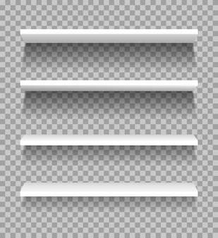 Étagères blanches étagères de produits d'affichage de vitrine vide pour la maquette de magasin de supermarché d'exposition