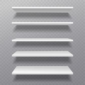 Étagères blanches. rack de détail bibliothèque étagère boîte vide étagères vide bibliothèque étagère magasin bibliothèque sur ensemble de meubles muraux