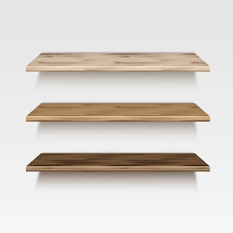 Étagères en bois en bois vide sur fond de mur