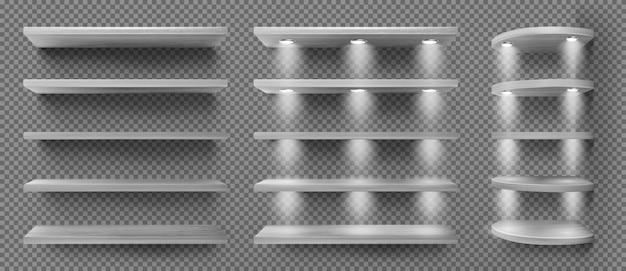 Étagères en bois noir avec rétro-éclairage, étagères d'angle