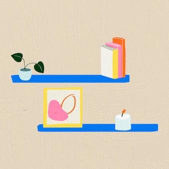 Des étagères dessinées à la main vector décor à la maison dans un style graphique plat coloré