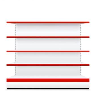 Étagères avec façade rouge
