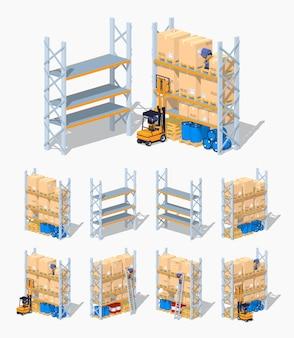 Étagères isométriques 3d lowpoly de warehouse