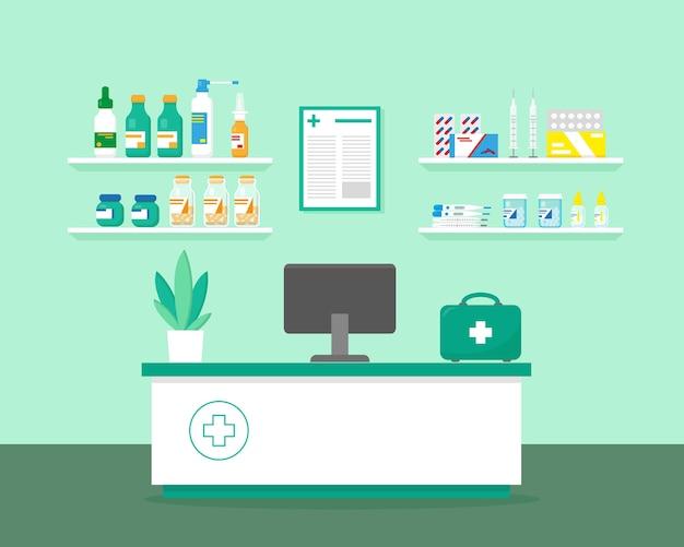 Étagères avec lieu de travail de médicaments et pharmaciens
