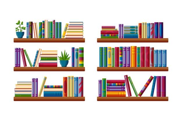 Étagères avec des livres et des plantes littérature à lire dans diverses étagères en style cartoon