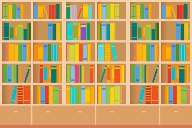 Des étagères pleines de livres à la fois dans la bibliothèque. illustration vectorielle.