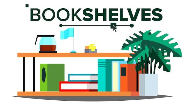 Étagères de rangement avec des livres et des documents