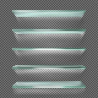 Étagères en verre avec lumière, support de glace isolé