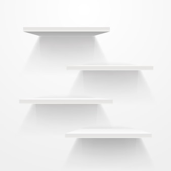 Étagères vides blanches sur mur gris. maquette de vecteur
