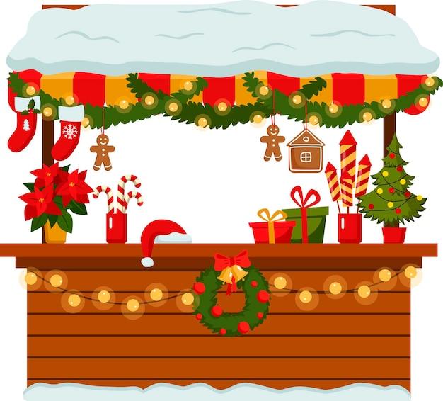Étal du marché de noël. stand de festival en plein air. kiosques. kiosque de souvenirs. l'hiver. illustration vectorielle