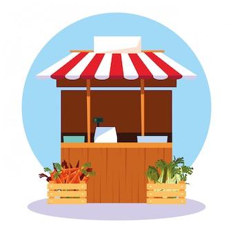 Étal kiosque de magasin de légumes frais