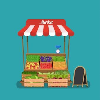 Étal de légumes locaux.