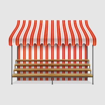 Étal de marché avec des étagères en bois