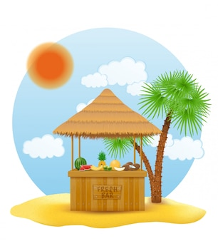 Etal de plage bar frais pour les vacances d'été sur la station sous les tropiques