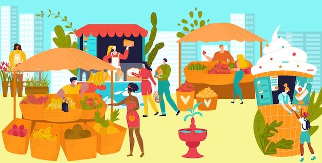 Étals de marché avec des agriculteurs vendant des légumes et des fruits, illustration plate du festival de l'alimentation de rue. les gens vendent de la nourriture dans les kiosques, les magasins.