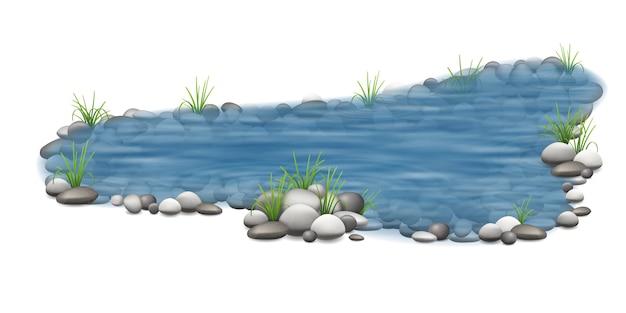 Étang de jardin de vecteur réaliste avec des pierres sur le fond et de l'herbe sur le rivage.
