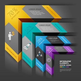 Étape 3d entreprise de diagramme d'escalier flèche.