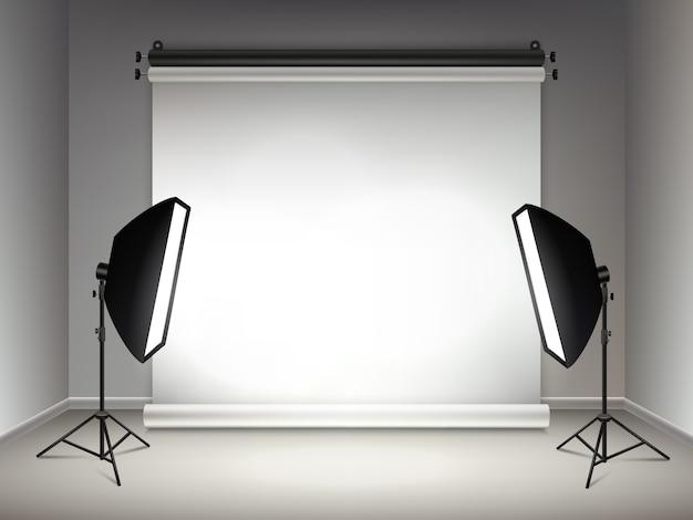 Étape brillante. effets d'éclairage et de lueur des projecteurs softboxes lampes et projecteurs fond réaliste