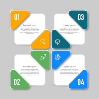 Étape de conception infographique graphique de flux de travail numéro de graphique d'étape de processus infographique avec des icônes de ligne concept d'information