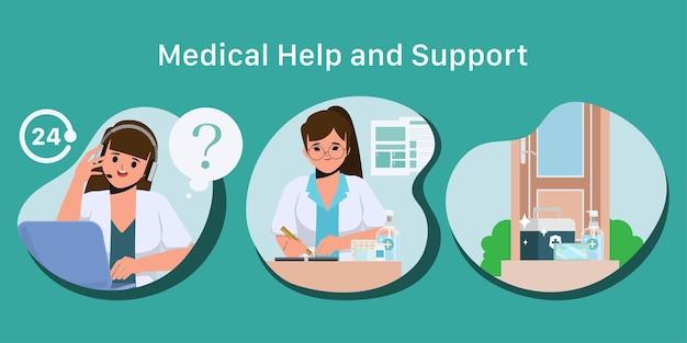 Étape du centre d'appels en ligne de la pharmacie pour dispenser le caractère vectoriel infographique de la médecine