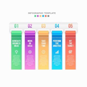 Étape du processus, Liste des options Business Infographic