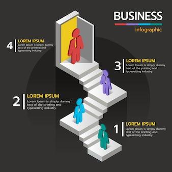 Étape d'escalier d'infographie pour commencer à traiter avec le signe de l'entreprise.