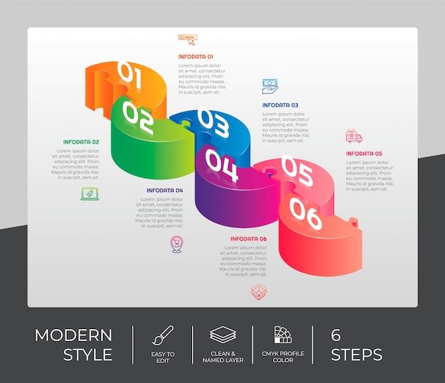Étape infographique avec 6 options et style 3d