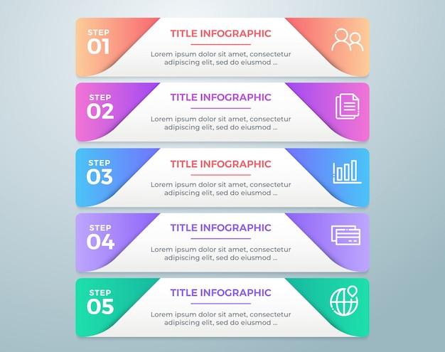 Étape infographique colorée avec 5 options
