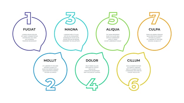 Étape infographique. organigramme de processus, graphique de chronologie, diagramme de ligne de flux de travail, options commerciales d'étapes. cercle infographique de ligne