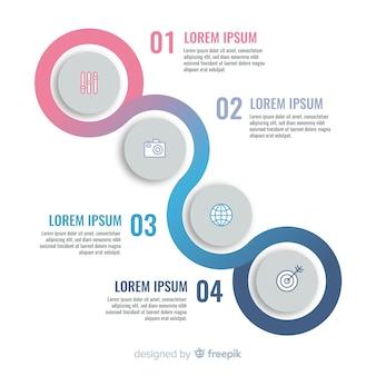 Étape infographique plat