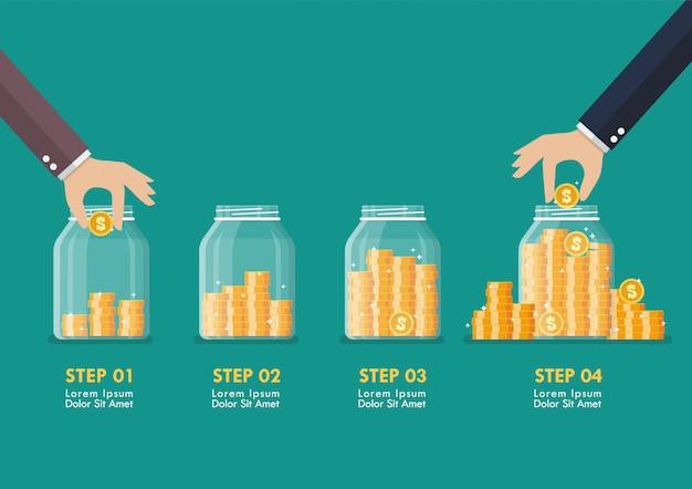 Étape de la main économiser des pièces dans des bocaux en verre infographique
