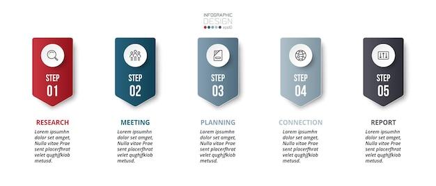 Étape ou option du modèle infographique d'entreprise