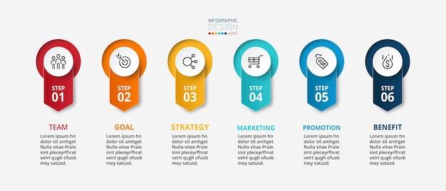 Étape ou option de modèle d'entreprise ou de marketing infographique