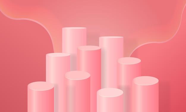 Étape de produit d'affichage rose.