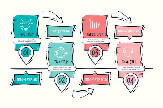 Étapes d'affaires infographie dessinés à la main