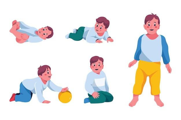 Étapes de la bande dessinée d'un petit garçon