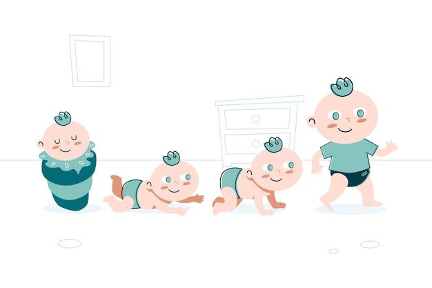Étapes d'un bébé garçon mis au design plat