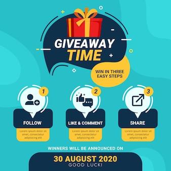 Étapes de cadeau pour le concept de conception de concours de médias sociaux