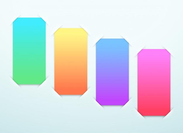 Étapes de cadres de papier colorés vierges